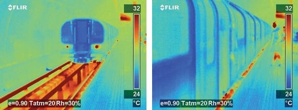 Thermal images of tube